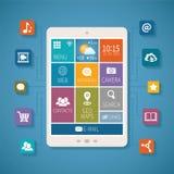Vektorkonzept von Mobilkommunikationen und von Wolkendienstleistungen Lizenzfreie Stockfotos