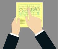 Vektorkonzept - Zeitplan auf Papier mit den Händen Lizenzfreies Stockfoto