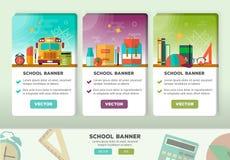 Vektorkonzeptdesign der Bildungsfahne Vertikale flache Fahnen mit Schuleinzelteilen Stockbilder