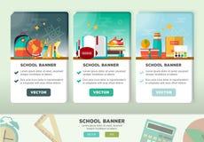 Vektorkonzeptdesign der Bildungsfahne Vertikaler Flieger mit Schuleinzelteilen in der flachen Art Stockfotos