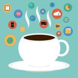 Vektorkopp kaffe med SEO-symbolen Royaltyfri Bild