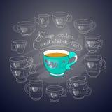 Vektorkoppar, handskrivna ord håller stillhet och dricker te stock illustrationer