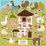 Vektorkorsord, utbildningslek för barn om lantgårddjur Royaltyfria Bilder