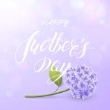 Vektorkort av för moder` s för ` lycklig ` för dag med vanliga hortensian och text på den purpurfärgade bakgrunden Royaltyfri Foto
