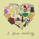 Vektorkort av köks beståndsdelar Arkivfoto