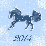 Vektorkort för jul och för nytt år med en häst Arkivbild