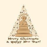 Vektorkort för nytt år med apa och böcker 2 Royaltyfri Illustrationer