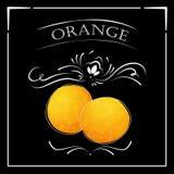 Vektorkort i tappningstil Stiliserad teckning med krita på en svart tavla med apelsinen Royaltyfria Foton
