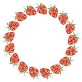 Vektorkort med bär Tom rund form med dekorativa jordgubbar Dekorativt inrama Serien av kort, förbigår och bildar stock illustrationer