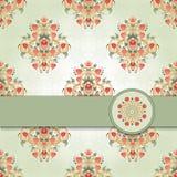 Vektorkort med blom- symmetriska beståndsdelar Royaltyfria Bilder