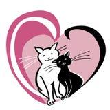 Vektorkort med dagbegrepp för valentin s, två katter i hjärtan Arkivfoton