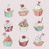 Vektorkort med den färgrika muffin Royaltyfria Bilder