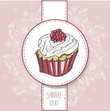 Vektorkort med den färgrika muffin Fotografering för Bildbyråer