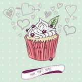 Vektorkort med den färgrika muffin Arkivfoton