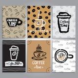 Vektorkort med kaffetemadesign Arkivfoton