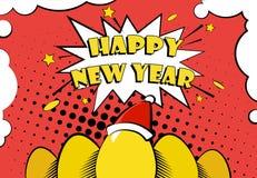 Vektorkortet för det lyckliga nya året med guld- ägg i jultomten hatt och hälsning smsar royaltyfri illustrationer