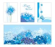 Vektorkortet med översikten glömmer mig inte eller Myosotisgruppen i pastellblått Blom- mallar i blått med konturförgätmigej Royaltyfri Fotografi