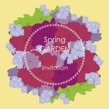 Vektorkortet med blommor, kan användas som inbjudankortet för att gifta sig, födelsedagen och annan ferie och sommarbakgrund Royaltyfri Foto