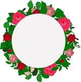 Vektorkrans av sidor och rosa blommor stock illustrationer