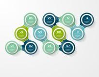 Vektorkreis infographic Schablone für Diagramm, Diagramm, Darstellung und Diagramm Geschäftskonzept mit 12 Wahlen, Teile, Schritt vektor abbildung