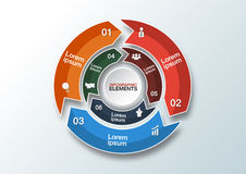 Vektorkreispfeile für infographic Schablone für Radfahrendiagr Lizenzfreie Stockfotos