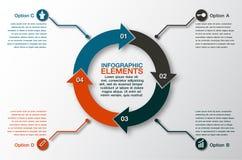 Vektorkreispfeile für infographic Schablone für Radfahrendiagr Stockfotografie