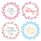 Vektorkreisrahmen eingestellt mit mehrfarbigen Herzen romantischer Hintergrund Lizenzfreies Stockfoto