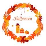 Vektorkreisrahmen eingeweiht den Herbstferien: Halloween Kritzeln Sie Design, Schablone für Grußkarten, Flieger, bann lizenzfreie abbildung