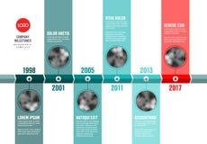 Vektorkricka och röd Infographic Företag Timelinemall stock illustrationer