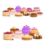 Vektorkuchen-Ikonensatz, Geburtstagslebensmittel, Süßspeise, Illustration Lizenzfreie Stockbilder