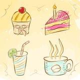 Vektorkuchen und Getränkillustration Stockbild