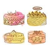 Vektorkuchenillustration Satz von 4 Hand gezeichneten Kuchen mit buntem Aquarell spritzt Kuchen mit Sahne und Beeren Stockbilder