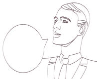 Vektorkunst des Geschäftsmannes mit Spracheblase Lineart lokalisierte ENV 10 Stockbild