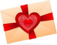 Vektorkuvert med röd pappers- hjärta stock illustrationer