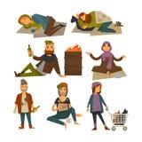 Vektorlägenheten för hemlöst folk, tiggare- och lodislösdrivareisolerade symboler royaltyfri illustrationer