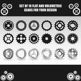 Vektorlägenheten och det volymetriska kugghjulet ställde in för din design Royaltyfri Foto