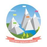 Vektorlägenhetflagga på berget Arkivbild