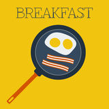 Vektorlägenhetfrukost med förvanskade ägg och Royaltyfri Foto