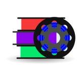 Vektorlägenhetrulle för 3D skrivaren, plast- för skrivaren som 3D är röd, b Arkivfoto