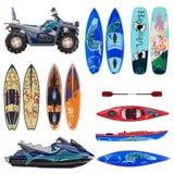 Vektorlägenhetuppsättning av strandsportutrustning i plan stil royaltyfri illustrationer