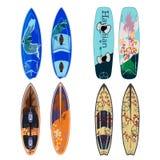 Vektorlägenhetuppsättning av surfingbrädor i plan stil royaltyfri illustrationer