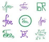 Vektorlåsord för Utdraget kort för grön violett illustrationhand Abstrakt bokstavstappningstil Oval symboltextur typografisk vektor illustrationer