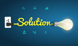 Vektorlösningsbegrepp med idérik ljus kula I stock illustrationer