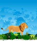 Vektorlöwe im tropischen Dschungel Lizenzfreie Stockbilder