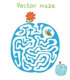 Vektorlabyrint, labyrint med flygbiet och blomma Royaltyfri Foto