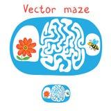 Vektorlabyrint, labyrint med flygbiet och blomma Arkivbild