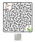 Vektorlabyrint, labyrint med ormen och fakir Arkivbild