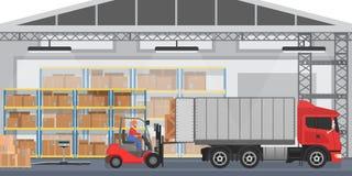 Vektorlagerinre med arbetare som ordnar gods, boxas in i en lastbil För wirhlast för lager modern inre lastbil vektor illustrationer