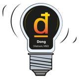 Vektorlampa med valutatecknet - Dong Vietnam, VND stock illustrationer
