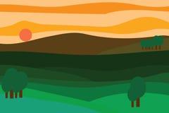 Vektorlandschaft bei Sonnenuntergang Stockfotografie